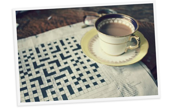Coffee in a china cup and a crossword puzzle. | Secrets of a Belle