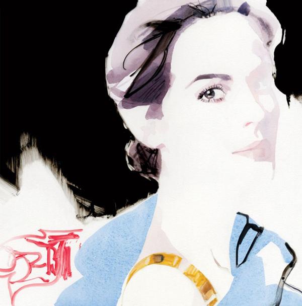 Michelle Dockery by artist David Downton | Vanity Fair via Secrets of a Belle