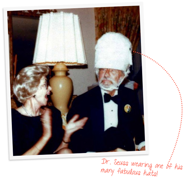 Dr. Seuss & the Mrs. wearing one of his many hats.