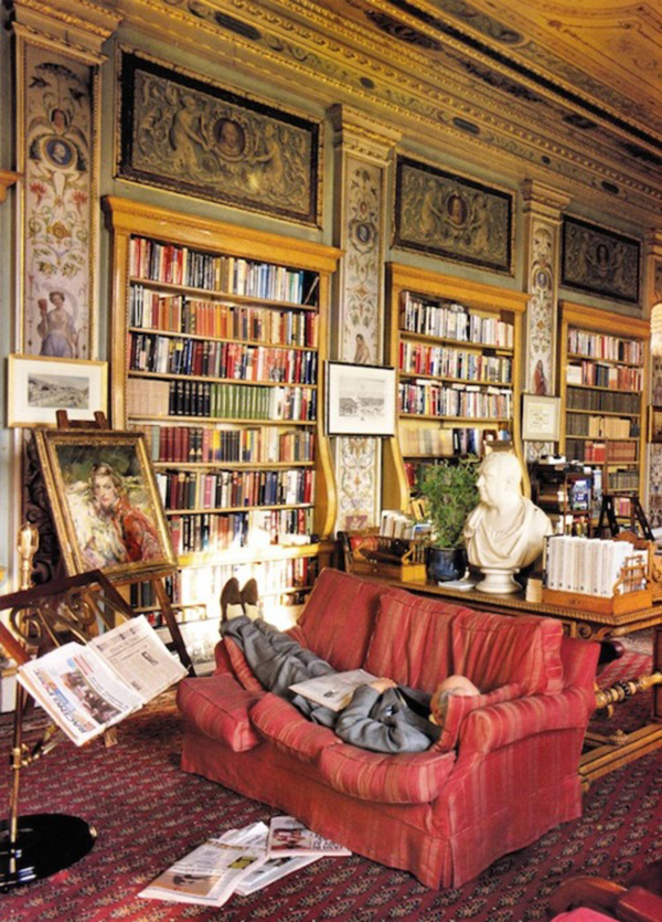 The Duke of Devonshire Taking a Nap in the Library at Chatsworth, Shot by Christopher Sykes