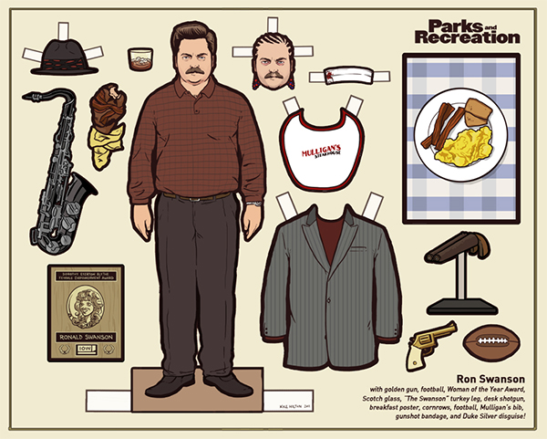 Parks and Rec's Ron Swanson paper doll