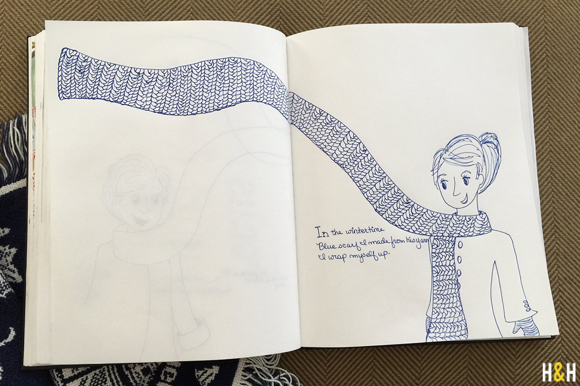 Blue Scarf Haiku from Hannah B's Sketchbook | Hannah & Husband