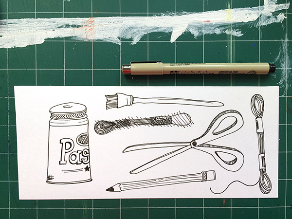 Doodle of DIY supplies | Hannah & Husband