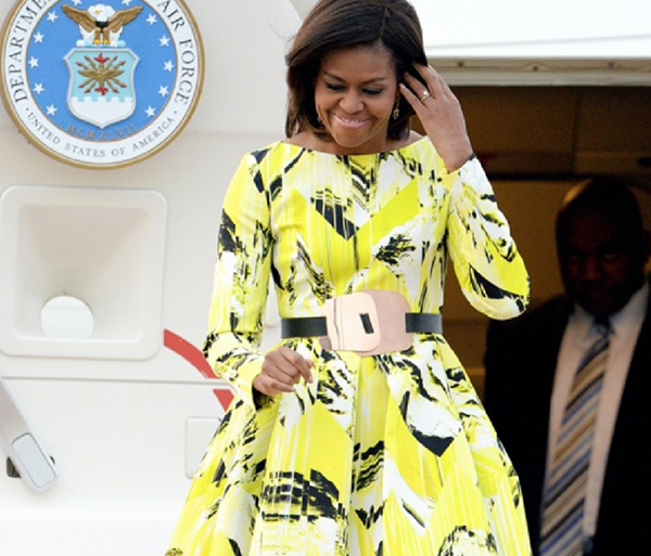 Michelle Obama in Kenzo stepping off the plane in Japan to begin her Let Girls Learn tour.
