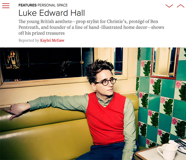 Luke Edward Hall in Lonny, March 2015