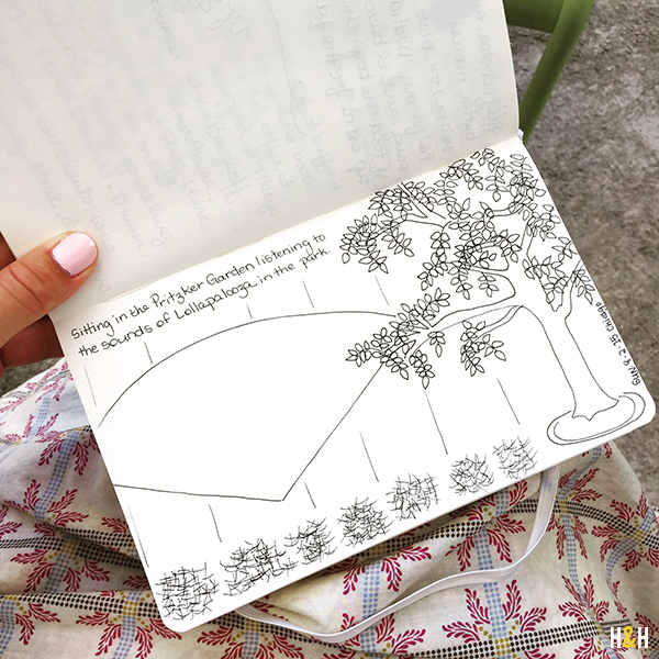 Sketching in the Plitzker Garden | Hannah & Husband