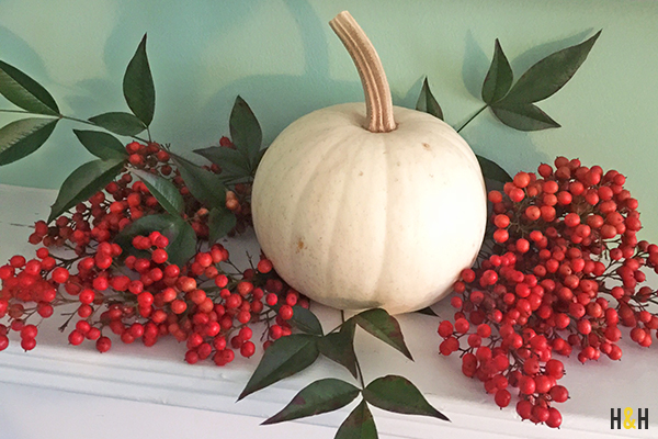 Nandina Berries & a white pumpkin atop our mantle | Hannah & Husband