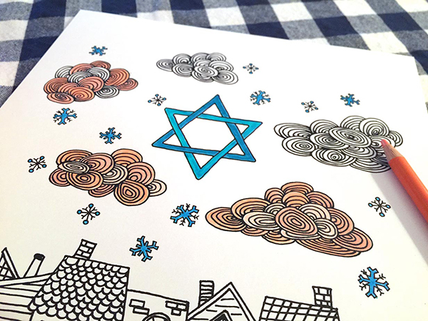 Hanukkah Coloring Pages for DIY Network by Hannah B. Slaughter